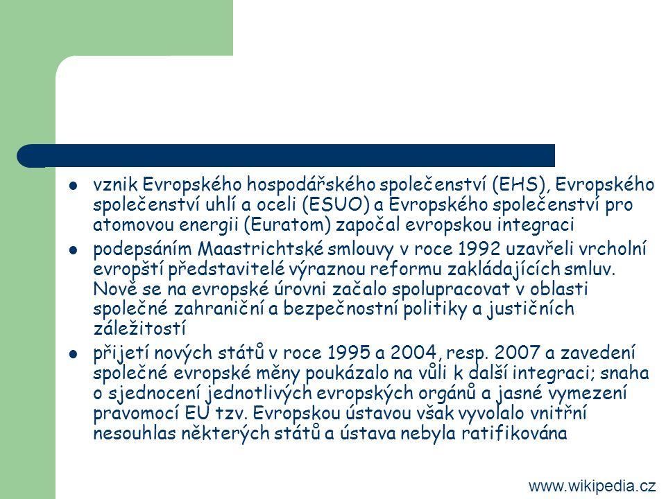 vznik Evropského hospodářského společenství (EHS), Evropského společenství uhlí a oceli (ESUO) a Evropského společenství pro atomovou energii (Euratom) započal evropskou integraci podepsáním Maastrichtské smlouvy v roce 1992 uzavřeli vrcholní evropští představitelé výraznou reformu zakládajících smluv.