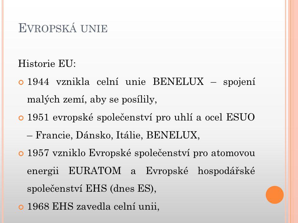 E VROPSKÁ UNIE Programy EU: Vzdělávací programy: o SOCRATES – široce zaměřený program na celoživotní učení.