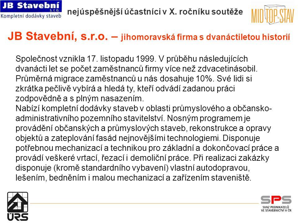 nejúspěšnější účastníci v X. ročníku soutěže JB Stavební, s.r.o.