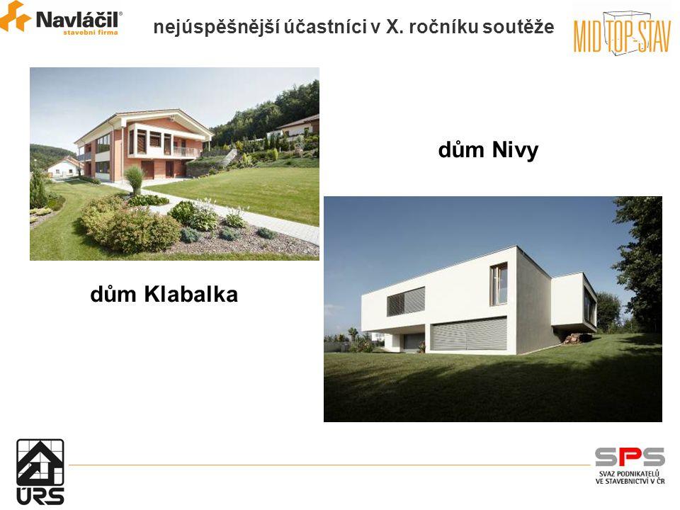 nejúspěšnější účastníci v X. ročníku soutěže dům Klabalka dům Nivy
