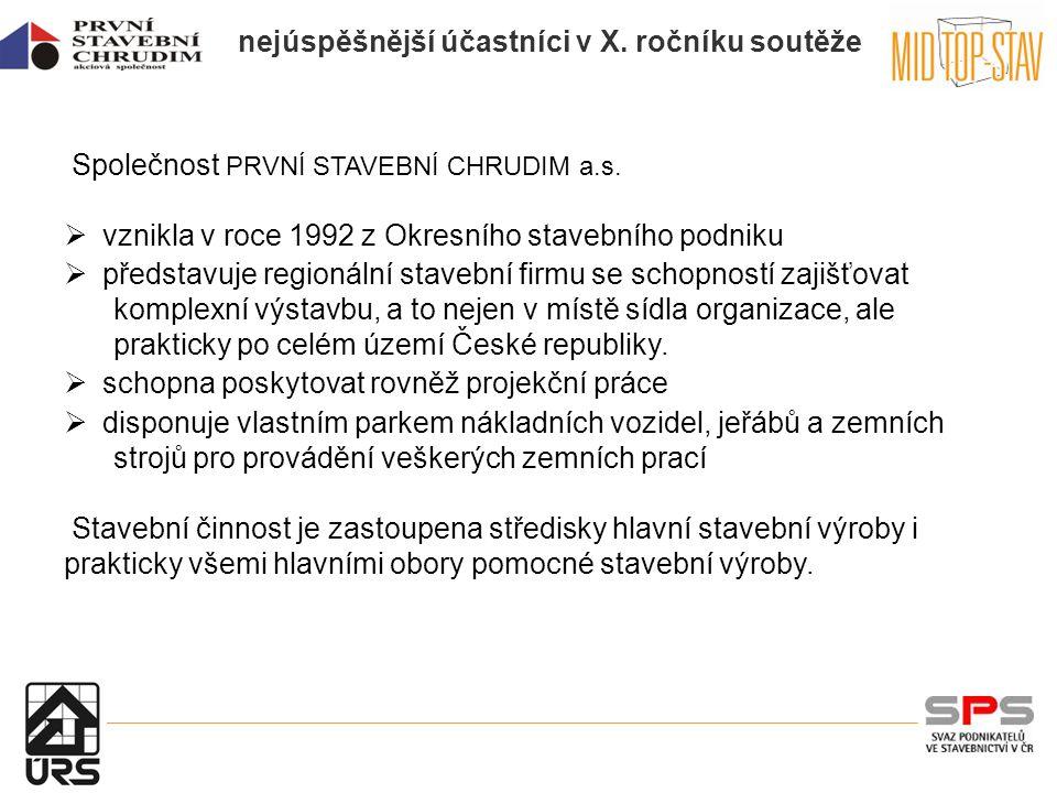 nejúspěšnější účastníci v X. ročníku soutěže Společnost PRVNÍ STAVEBNÍ CHRUDIM a.s.