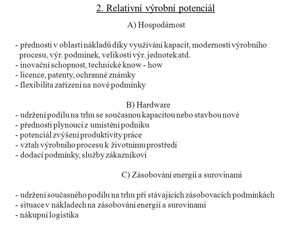 2. Relativní výrobní potenciál A) Hospodárnost - přednosti v oblasti nákladů díky využívání kapacit, modernosti výrobního procesu, výr. podmínek, veli