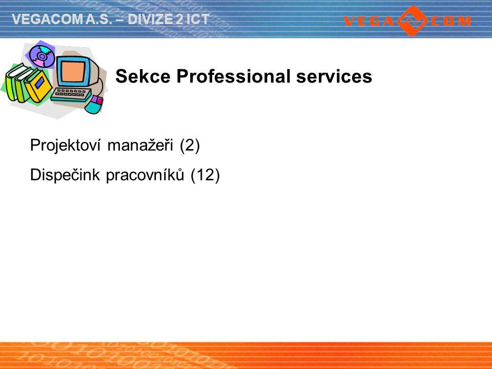 VEGACOM A.S. – DIVIZE 2 ICT Sekce Professional services Projektoví manažeři (2) Dispečink pracovníků (12)