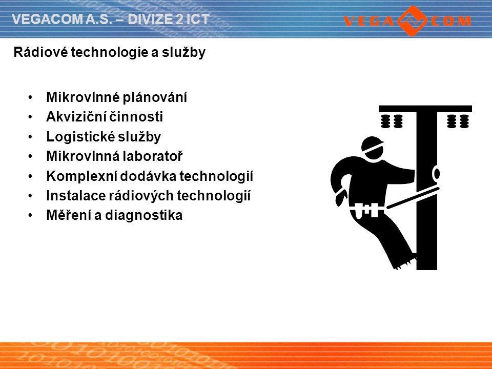 VEGACOM A.S. – DIVIZE 2 ICT Rádiové technologie a služby Mikrovlnné plánování Akviziční činnosti Logistické služby Mikrovlnná laboratoř Komplexní dodá