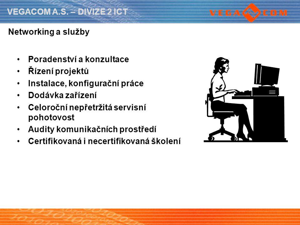VEGACOM A.S. – DIVIZE 2 ICT Networking a služby Poradenství a konzultace Řízení projektů Instalace, konfigurační práce Dodávka zařízení Celoroční nepř