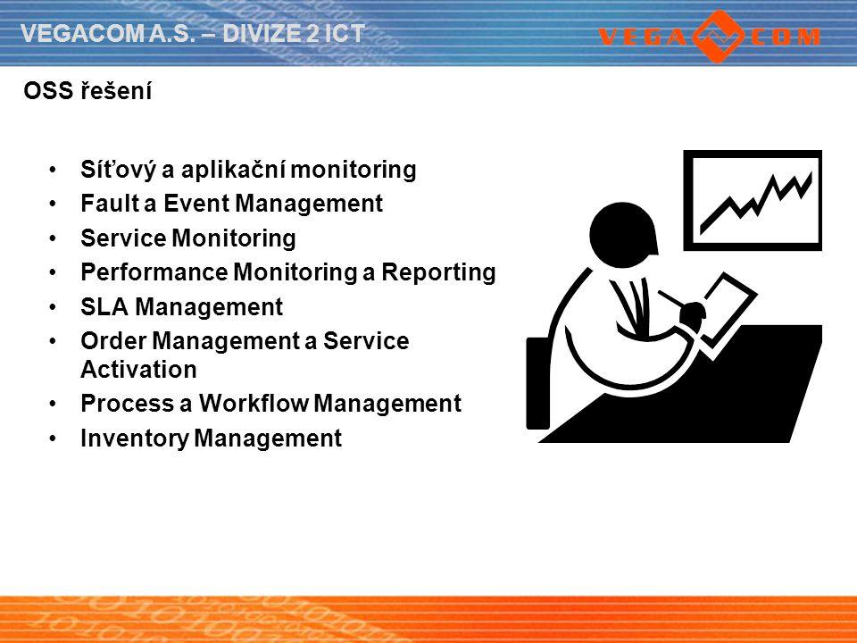 VEGACOM A.S. – DIVIZE 2 ICT OSS řešení Síťový a aplikační monitoring Fault a Event Management Service Monitoring Performance Monitoring a Reporting SL