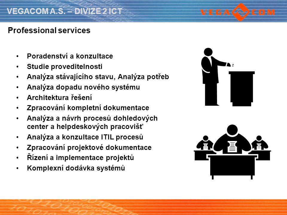 VEGACOM A.S. – DIVIZE 2 ICT Professional services Poradenství a konzultace Studie proveditelnosti Analýza stávajícího stavu, Analýza potřeb Analýza do