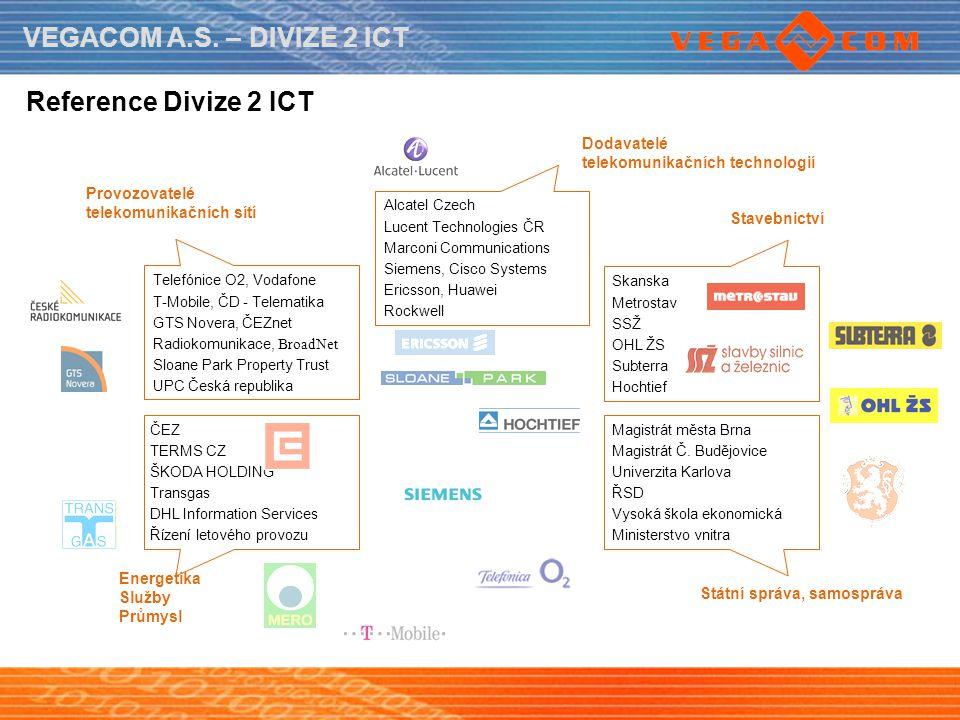 VEGACOM A.S. – DIVIZE 2 ICT Energetika Služby Průmysl Provozovatelé telekomunikačních sítí Dodavatelé telekomunikačních technologií Stavebnictví Státn