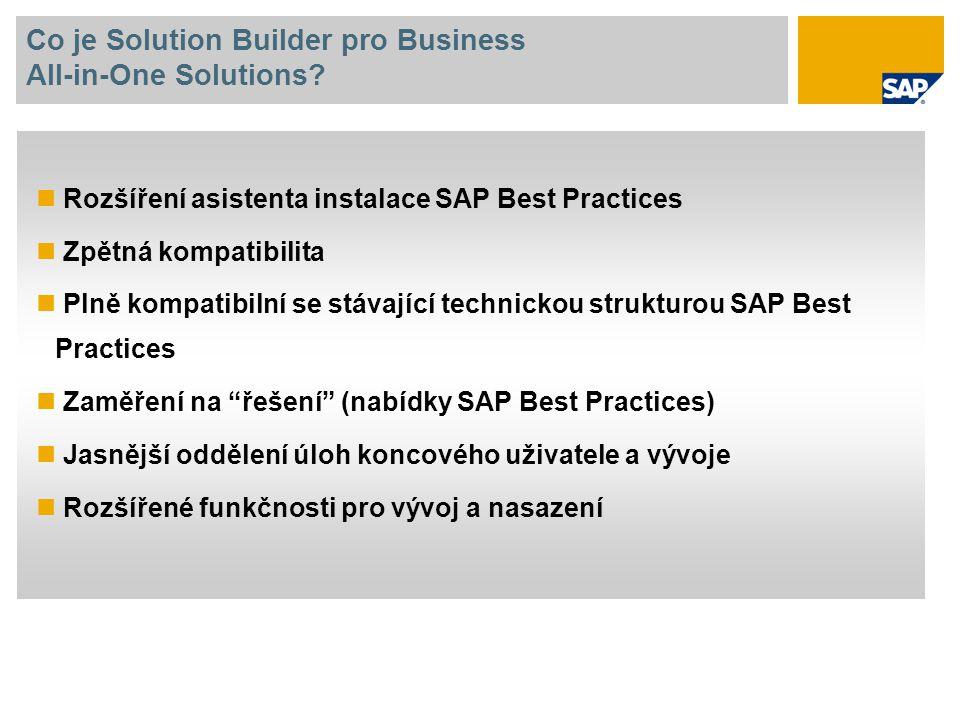 Co je Solution Builder pro Business All-in-One Solutions? Rozšíření asistenta instalace SAP Best Practices Zpětná kompatibilita Plně kompatibilní se s