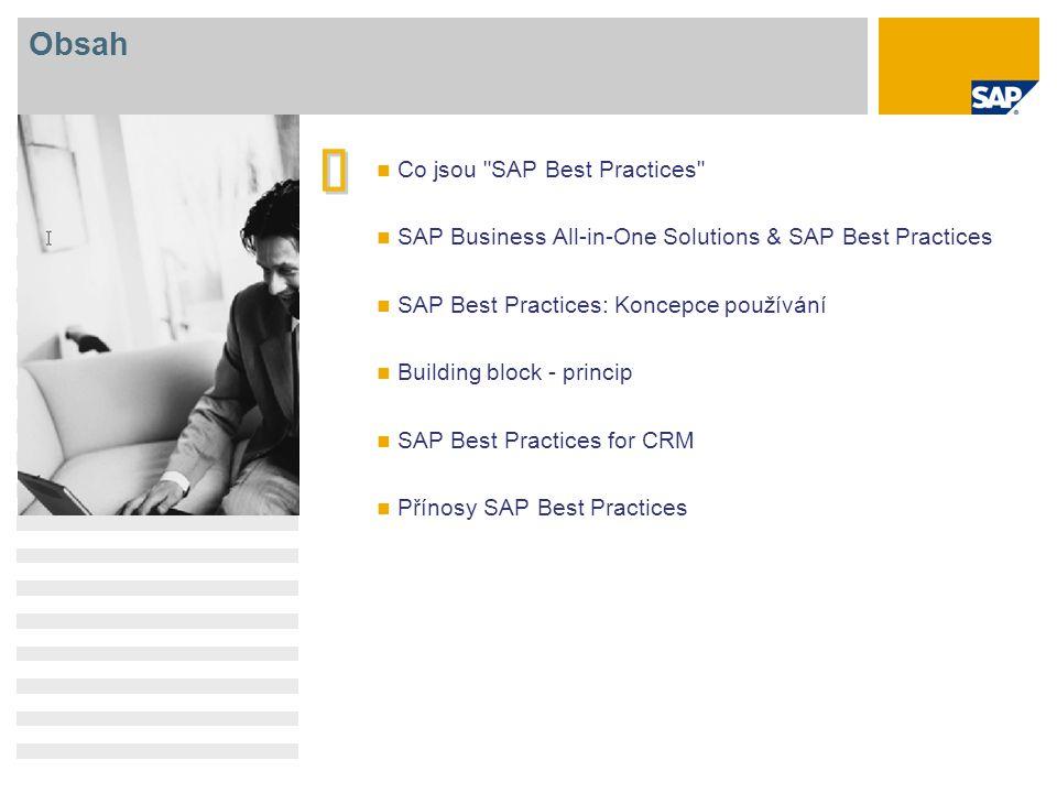 SAP Best Practices for CRM: Funkce Management kampaně Management vstupních tipů Management výstupních tipů Management činností Management příležitostí Obchod.po telefonu vstup Obchod.