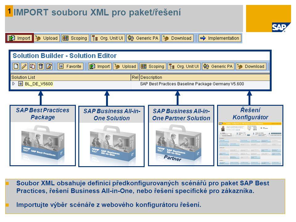 1 IMPORT souboru XML pro paket/řešení Soubor XML obsahuje definici předkonfigurovaných scénářů pro paket SAP Best Practices, řešení Business All-in-One, nebo řešení specifické pro zákazníka.