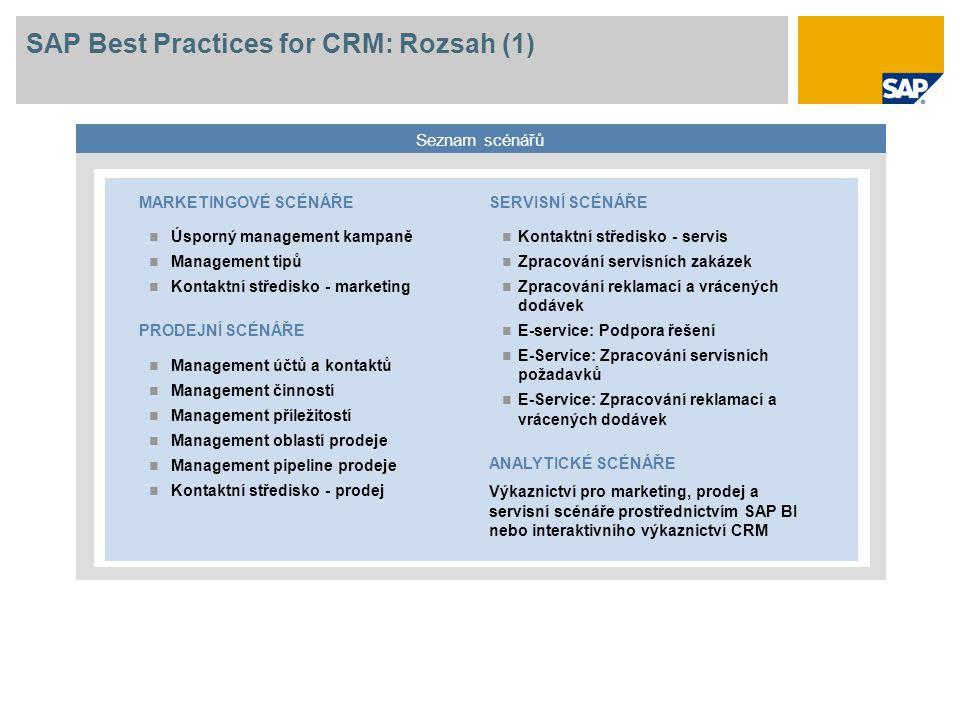 SAP Best Practices for CRM: Rozsah (1) Seznam scénářů SERVISNÍ SCÉNÁŘE Kontaktní středisko - servis Zpracování servisních zakázek Zpracování reklamací
