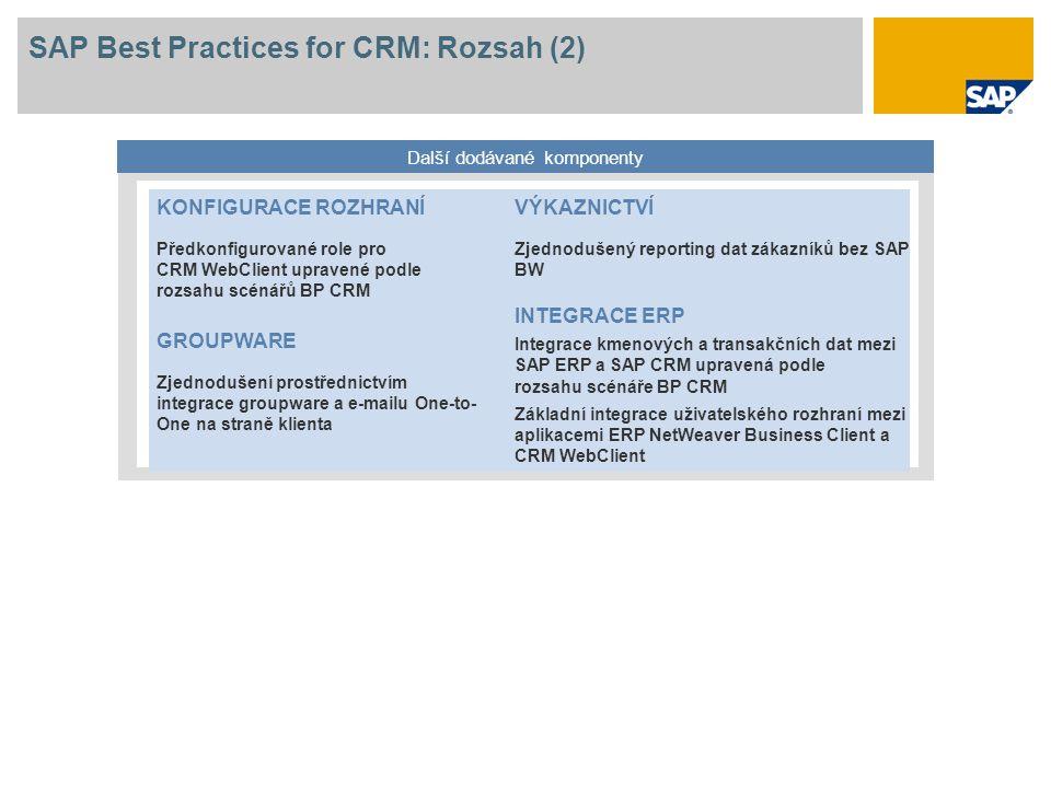 SAP Best Practices for CRM: Rozsah (2) Další dodávané komponenty KONFIGURACE ROZHRANÍ Předkonfigurované role pro CRM WebClient upravené podle rozsahu scénářů BP CRM GROUPWARE Zjednodušení prostřednictvím integrace groupware a e-mailu One-to- One na straně klienta VÝKAZNICTVÍ Zjednodušený reporting dat zákazníků bez SAP BW INTEGRACE ERP Integrace kmenových a transakčních dat mezi SAP ERP a SAP CRM upravená podle rozsahu scénáře BP CRM Základní integrace uživatelského rozhraní mezi aplikacemi ERP NetWeaver Business Client a CRM WebClient