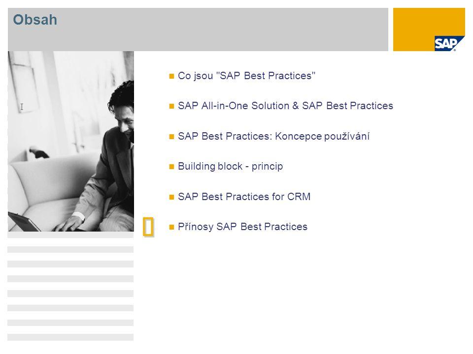   Obsah Co jsou SAP Best Practices SAP All-in-One Solution & SAP Best Practices SAP Best Practices: Koncepce používání Building block - princip SAP Best Practices for CRM Přínosy SAP Best Practices