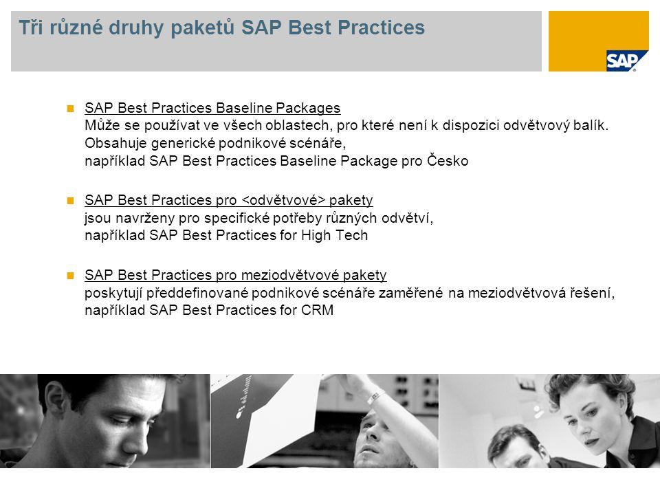 Tři různé druhy paketů SAP Best Practices SAP Best Practices Baseline Packages Může se používat ve všech oblastech, pro které není k dispozici odvětvo