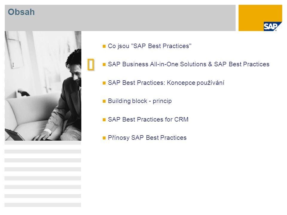 IMPLEMENTACE - Solution Builder Zjednodušená cesta k aktivaci SAP Best Practices ROZSAH AKTIVACE ADAPTACE Grafický výběr scénáře Standardní šablony rozsahu dodávané v SAP Best Practices Snadné rozšíření dalšími šablonami Personalizace organizačních a kmenových dat Automatická instalace vybraných scénářů s personalizovanými daty Zvýšený výkon a použitelnost