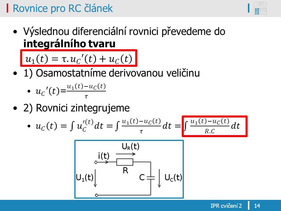 Rovnice pro RC článek IPR cvičení 214