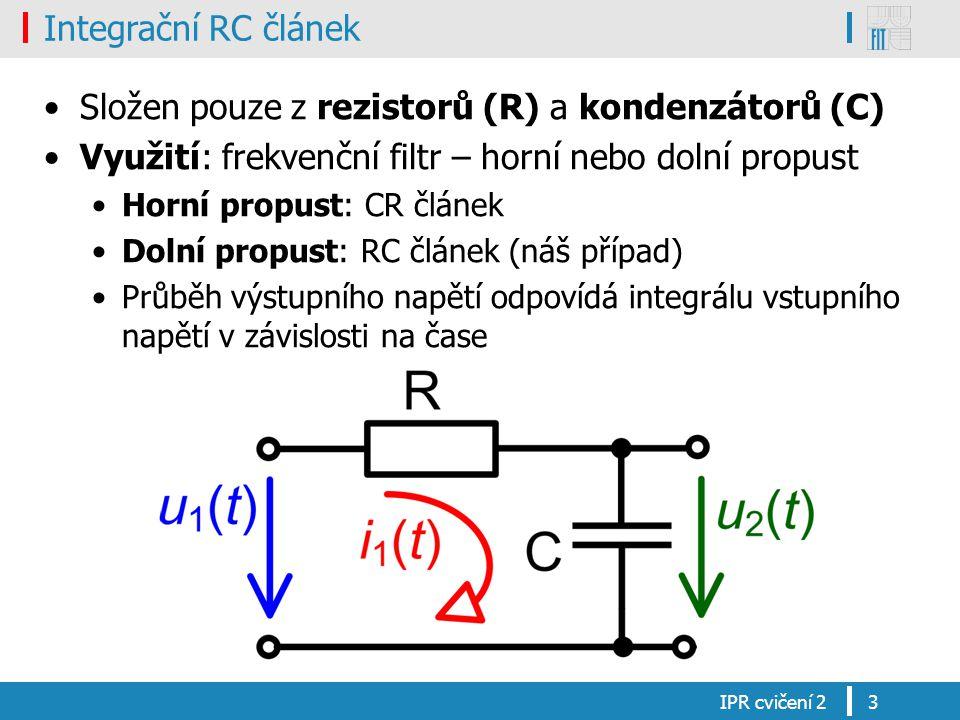 Integrační RC článek Složen pouze z rezistorů (R) a kondenzátorů (C) Využití: frekvenční filtr – horní nebo dolní propust Horní propust: CR článek Dol