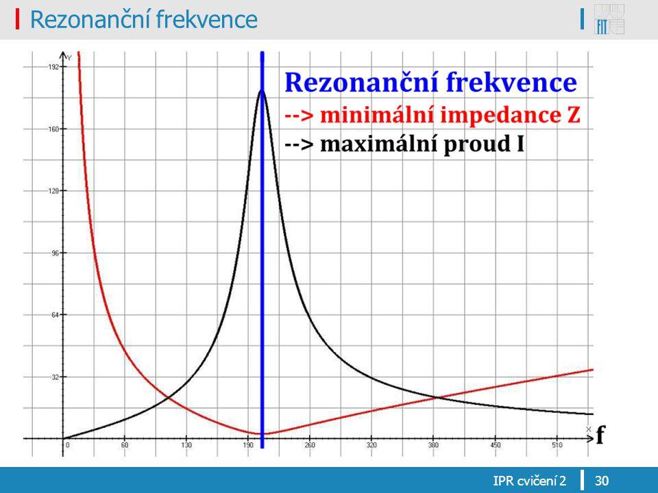 Rezonanční frekvence IPR cvičení 230