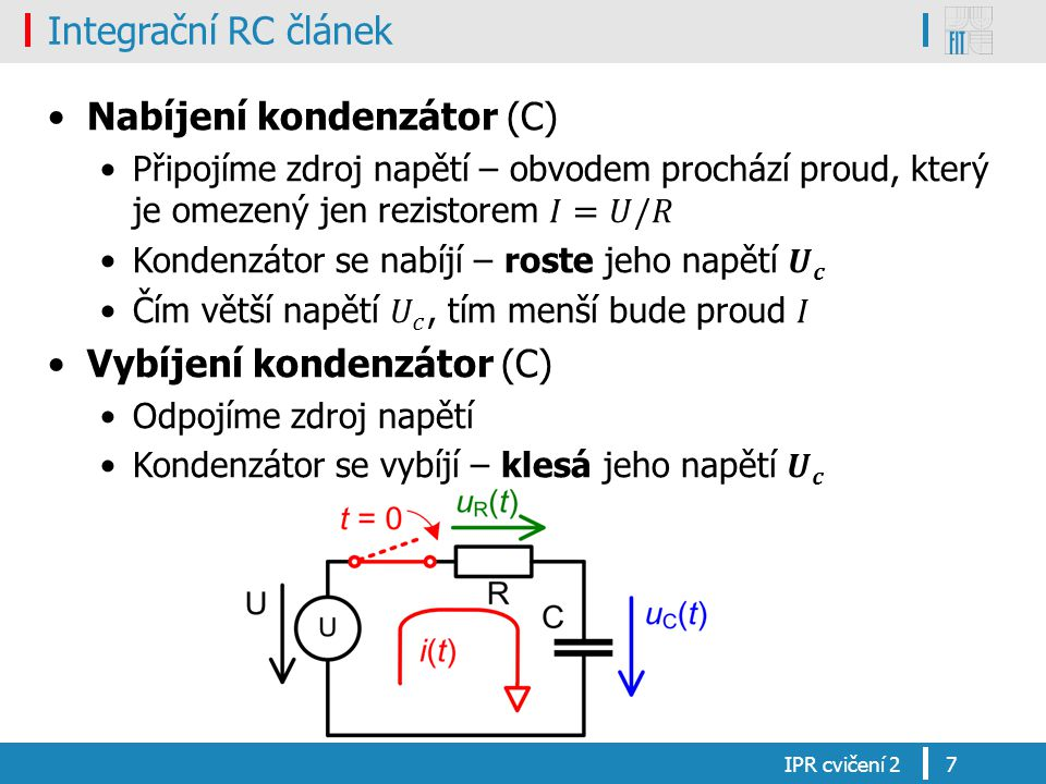 Integrační RC článek Průběh napětí na rezistoru (R) IPR cvičení 28
