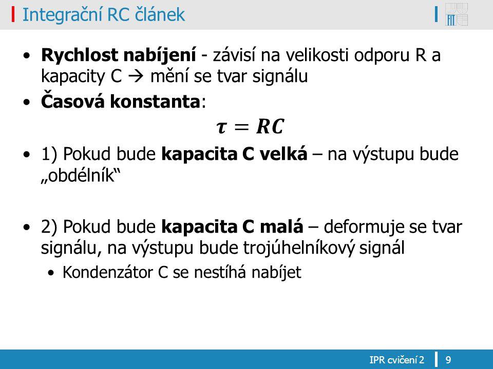 Integrační RC článek IPR cvičení 29
