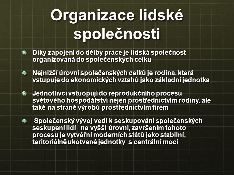 Organizace lidské společnosti Díky zapojení do dělby práce je lidská společnost organizovaná do společenských celků Nejnižší úrovni společenských celk