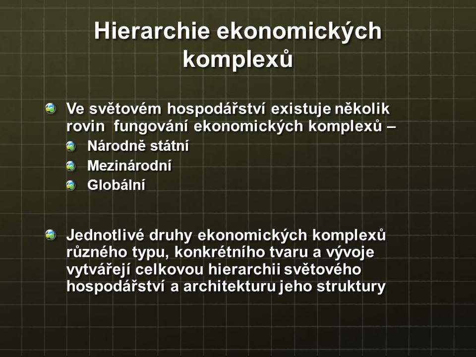 Hierarchie ekonomických komplexů Ve světovém hospodářství existuje několik rovin fungování ekonomických komplexů – Národně státní MezinárodníGlobální