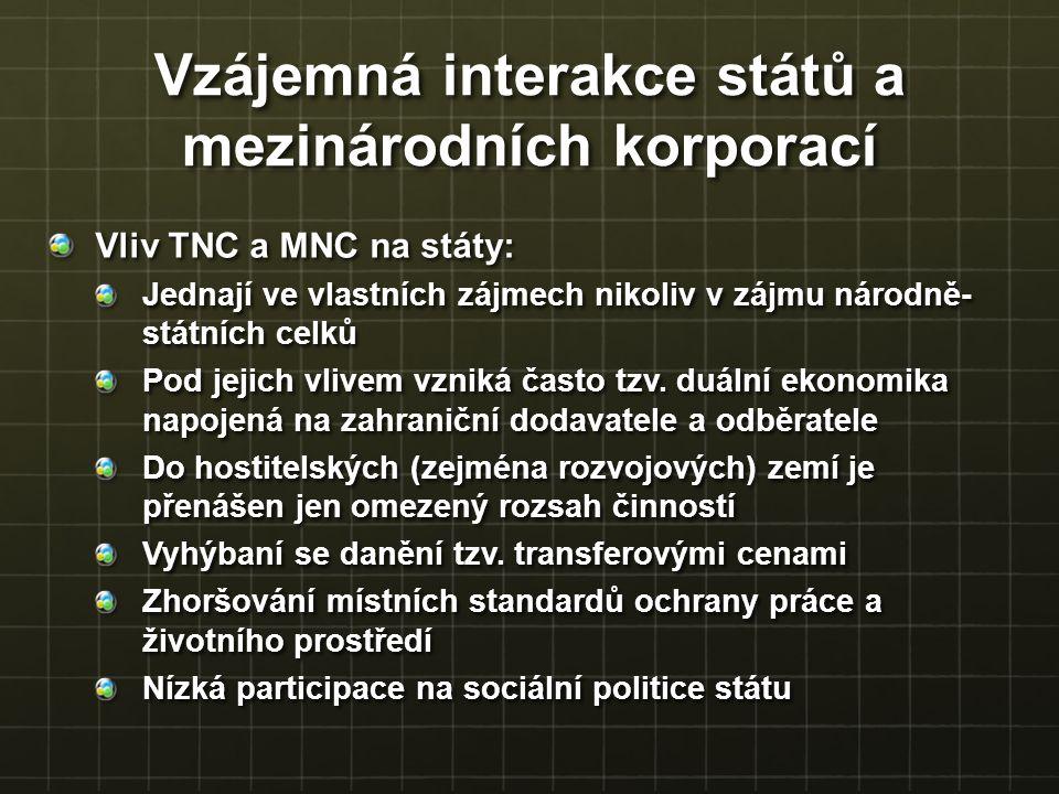 Vliv TNC a MNC na státy: Jednají ve vlastních zájmech nikoliv v zájmu národně- státních celků Pod jejich vlivem vzniká často tzv. duální ekonomika nap