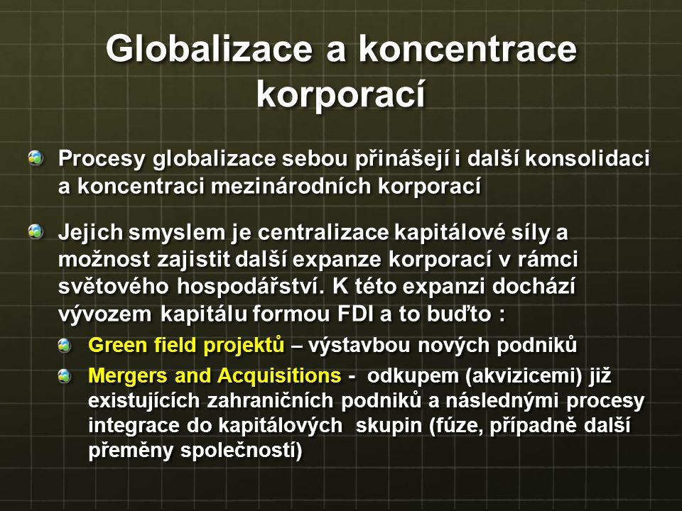 Globalizace a koncentrace korporací Procesy globalizace sebou přinášejí i další konsolidaci a koncentraci mezinárodních korporací Jejich smyslem je ce