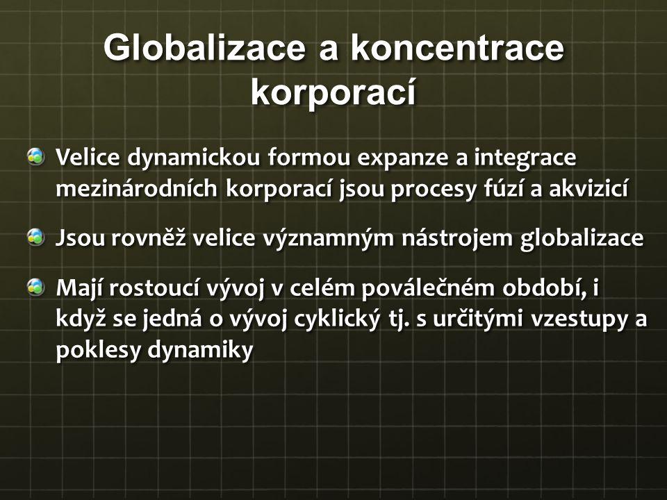 Velice dynamickou formou expanze a integrace mezinárodních korporací jsou procesy fúzí a akvizicí Jsou rovněž velice významným nástrojem globalizace M
