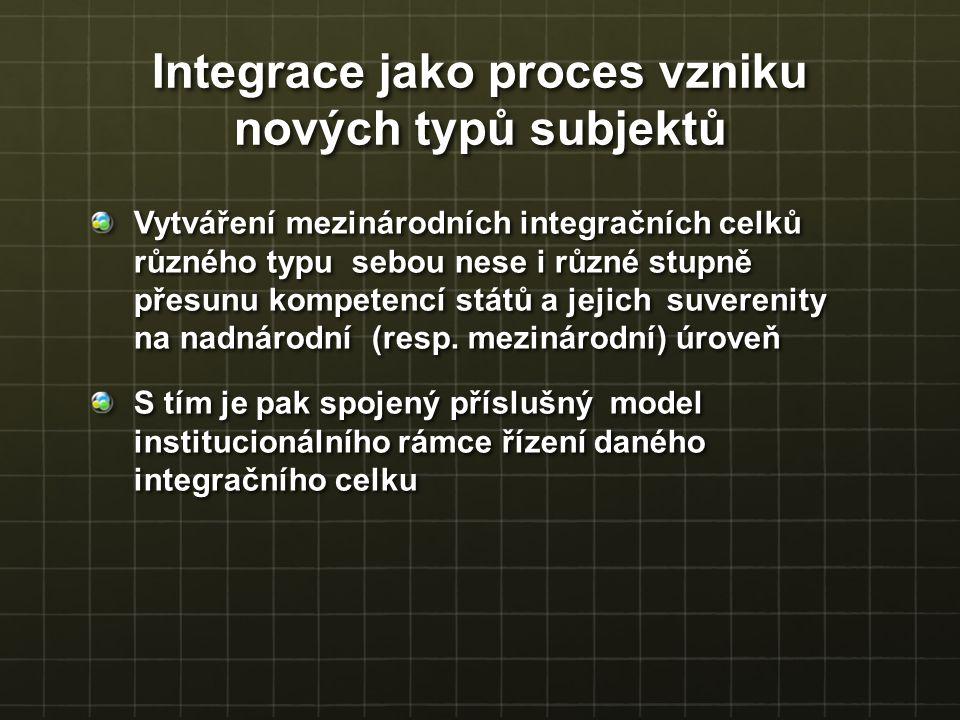 Vytváření mezinárodních integračních celků různého typu sebou nese i různé stupně přesunu kompetencí států a jejich suverenity na nadnárodní (resp. me