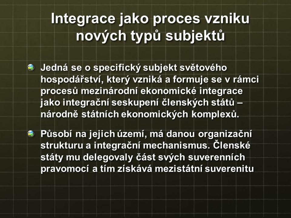 Jedná se o specifický subjekt světového hospodářství, který vzniká a formuje se v rámci procesů mezinárodní ekonomické integrace jako integrační sesku