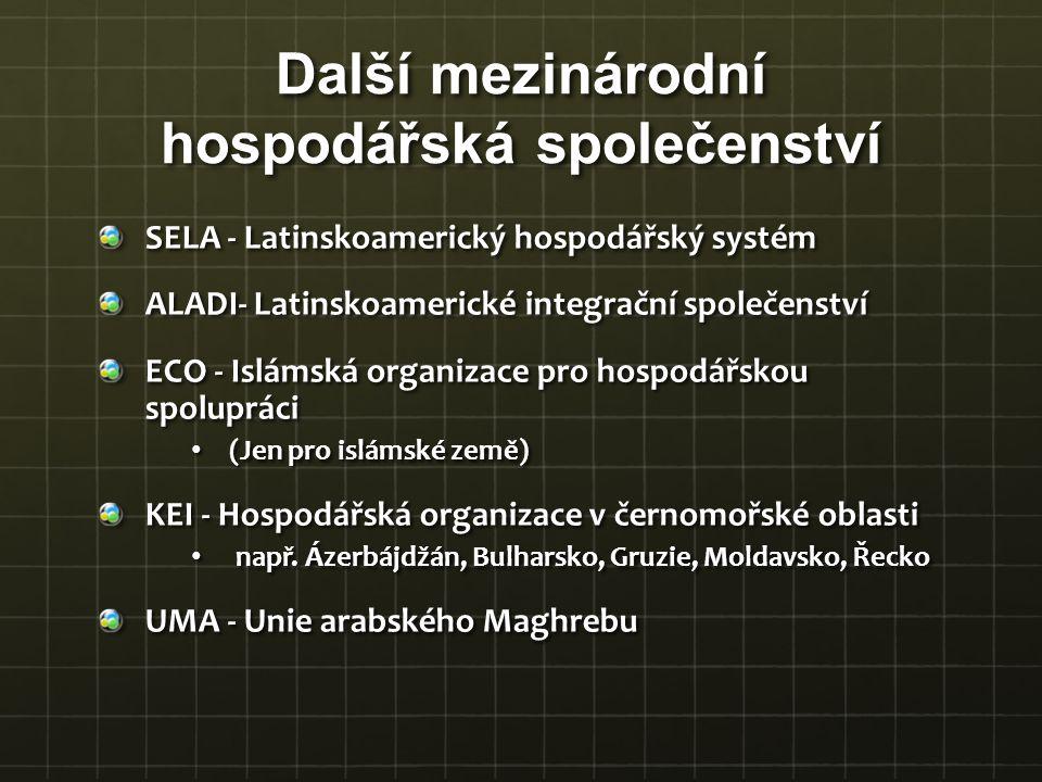 Další mezinárodní hospodářská společenství SELA - Latinskoamerický hospodářský systém ALADI- Latinskoamerické integrační společenství ECO - Islámská o