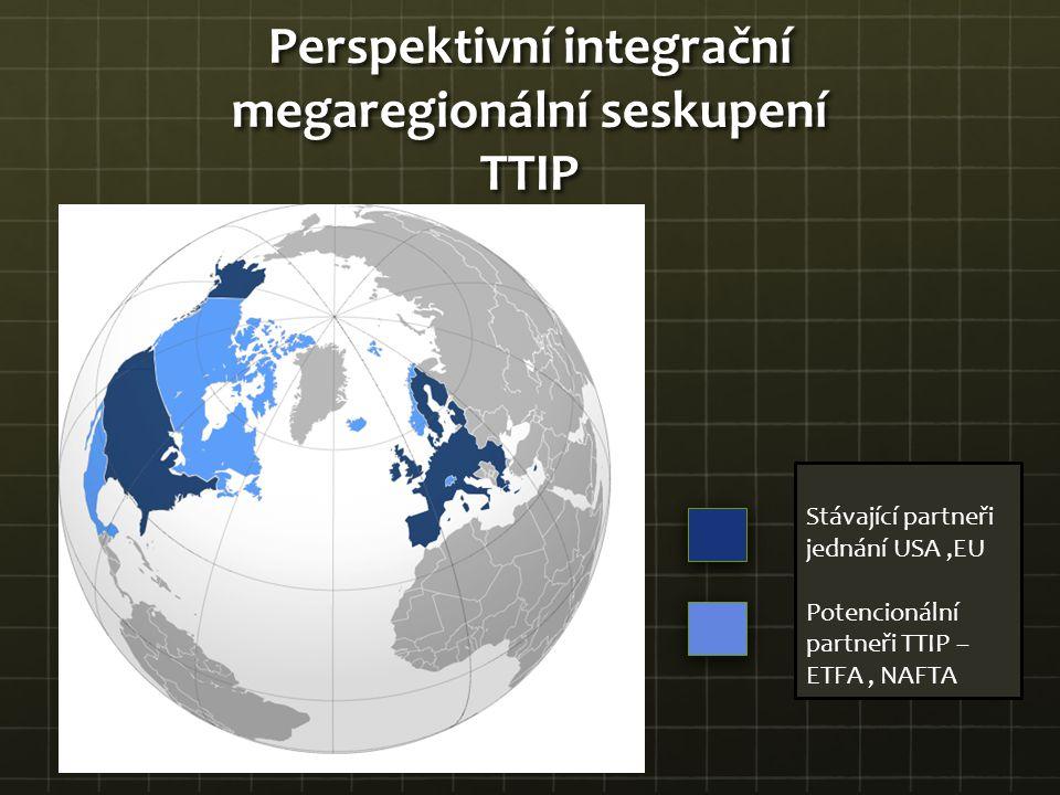 Perspektivní integrační megaregionální seskupení TTIP Stávající partneři jednání USA,EU Potencionální partneři TTIP – ETFA, NAFTA