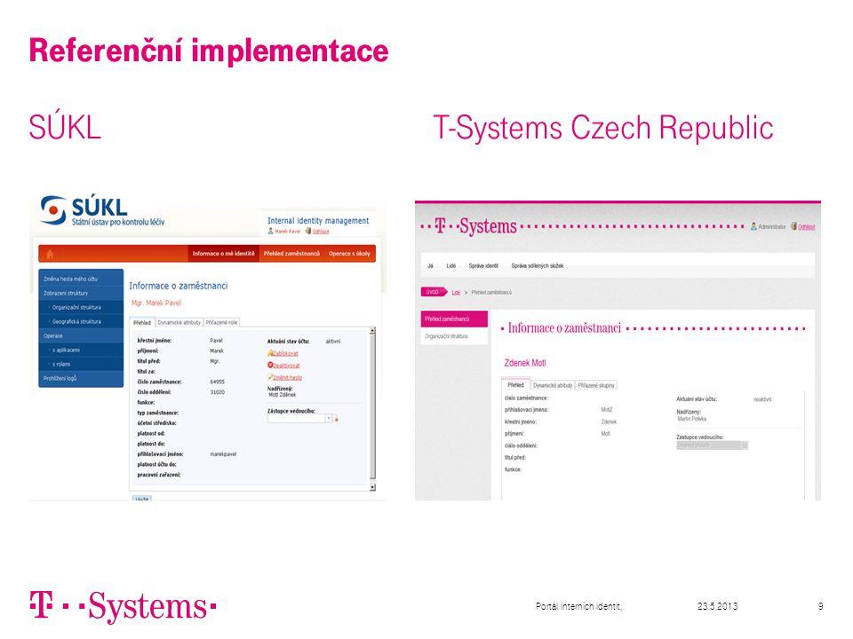 9 Referenční implementace SÚKL T-Systems Czech Republic 23.5.2013Portál interních identit,