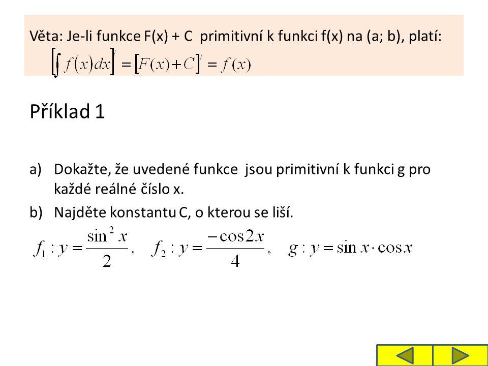 Věta: Je-li funkce F(x) + C primitivní k funkci f(x) na (a; b), platí: Příklad 1 a)Dokažte, že uvedené funkce jsou primitivní k funkci g pro každé reá