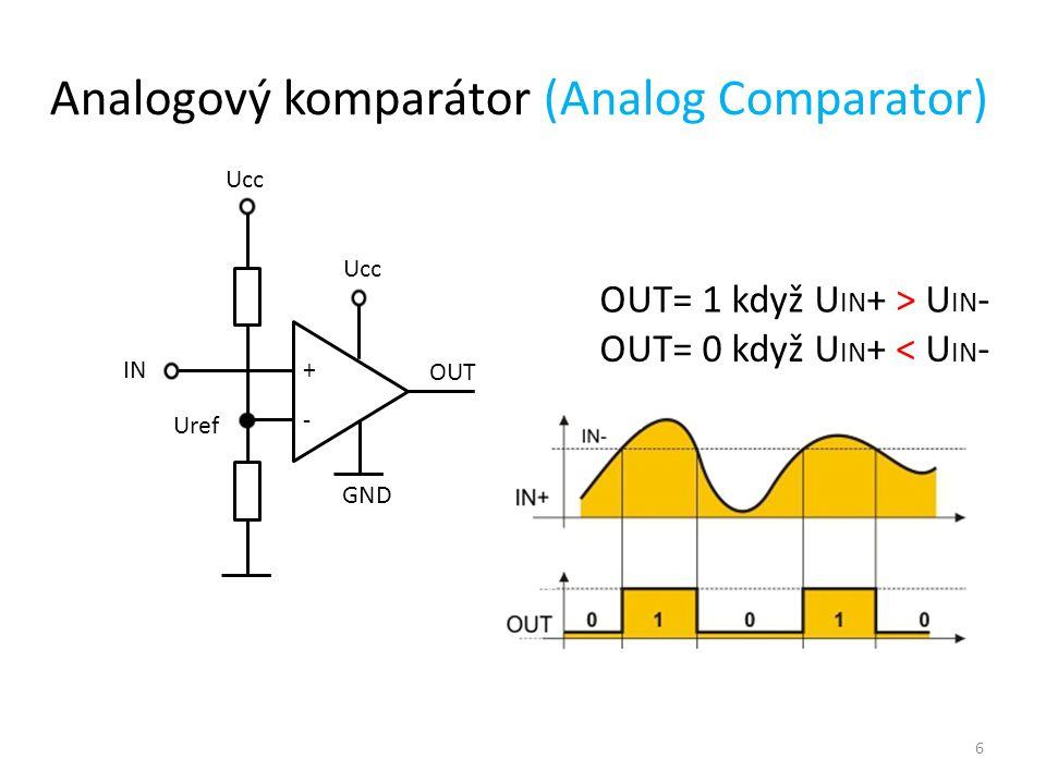 Analogově – digitální převodník (ADC) (Analog to Digital Converter) Analogově číslicový převod spojitého signálu představuje: - transformaci spojitého signálu na nespojitý = vzorkování (sample & hold) - kvantování = nalezení binárního čísla ke každému vzorku porovnáním s referencí Parametry: - rozlišení (počet bitů) - rychlost vzorkování - přesnost a linearita t ts typrozlišenírychlostvýhodynevýhodypoužití komparační8 bitů100MHzrychlostsložitostvideo aproximačníaž 16 bitůMHzoptimální poměr rychlost/cena mikrořadiče delta - sigmaaž 24 bitů10kHzměření integračníaž 24 bitů100kHzpřesnostmalá rychlostměření 7
