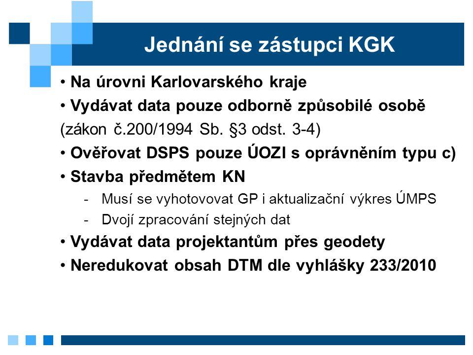 Jednání se zástupci KGK Na úrovni Karlovarského kraje Vydávat data pouze odborně způsobilé osobě (zákon č.200/1994 Sb. §3 odst. 3-4) Ověřovat DSPS pou