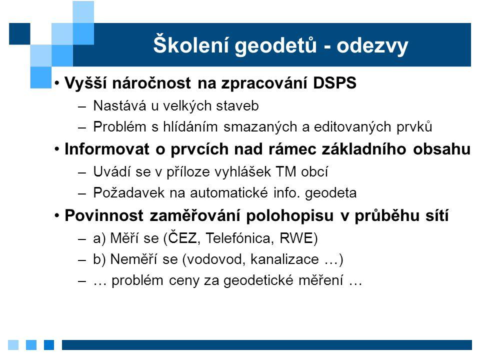 Školení geodetů - odezvy Vyšší náročnost na zpracování DSPS –Nastává u velkých staveb –Problém s hlídáním smazaných a editovaných prvků Informovat o p