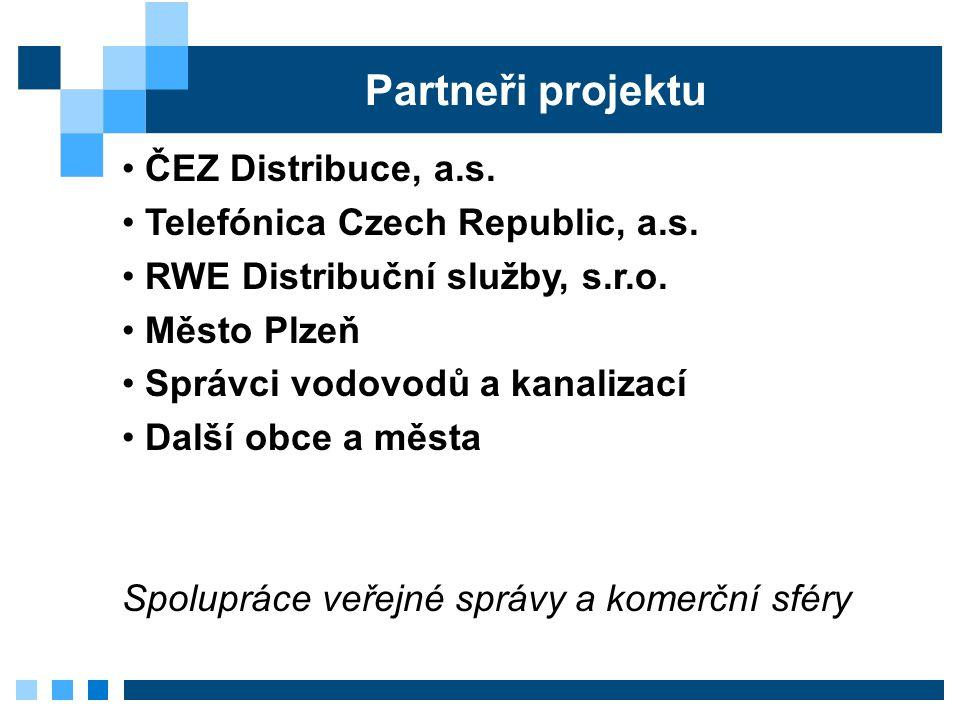 Partneři projektu ČEZ Distribuce, a.s. Telefónica Czech Republic, a.s. RWE Distribuční služby, s.r.o. Město Plzeň Správci vodovodů a kanalizací Další