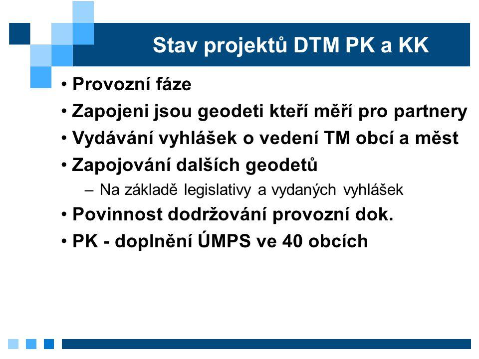 Stav projektů DTM PK a KK Provozní fáze Zapojeni jsou geodeti kteří měří pro partnery Vydávání vyhlášek o vedení TM obcí a měst Zapojování dalších geo