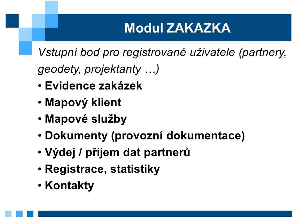 Modul ZAKAZKA Vstupní bod pro registrované uživatele (partnery, geodety, projektanty …) Evidence zakázek Mapový klient Mapové služby Dokumenty (provoz