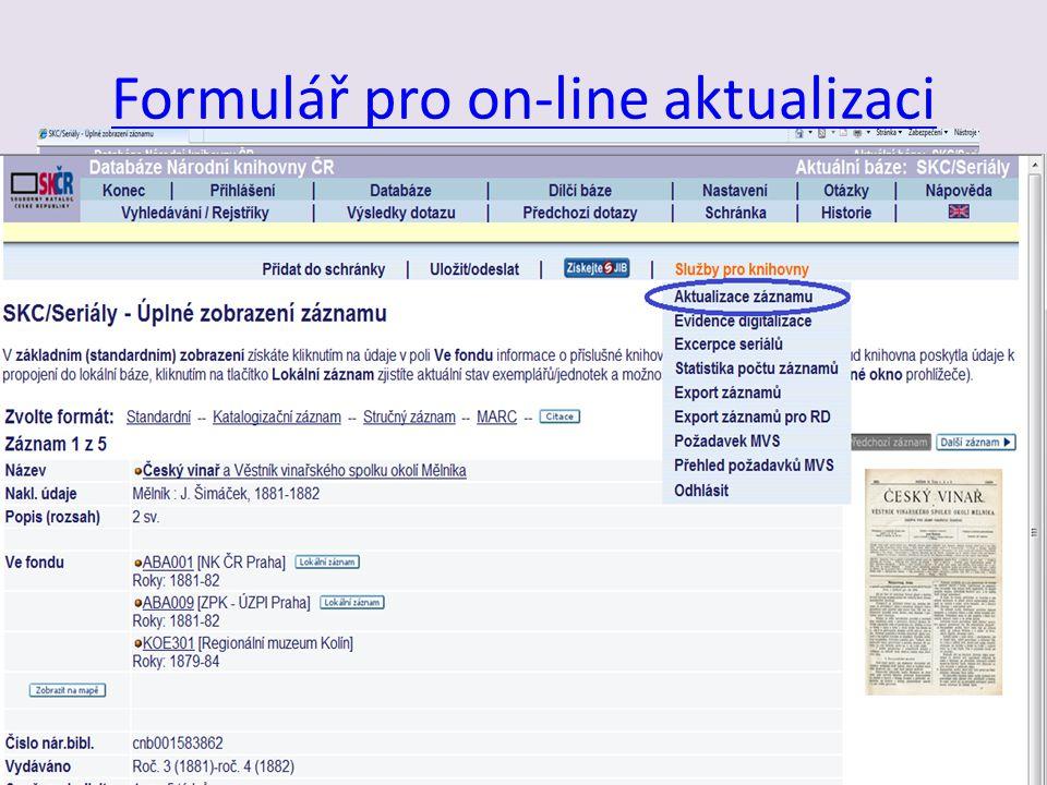 Formulář pro on-line aktualizaci