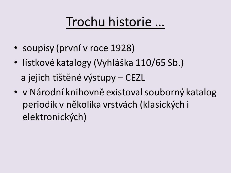 Trochu historie … soupisy (první v roce 1928) lístkové katalogy (Vyhláška 110/65 Sb.) a jejich tištěné výstupy – CEZL v Národní knihovně existoval souborný katalog periodik v několika vrstvách (klasických i elektronických)