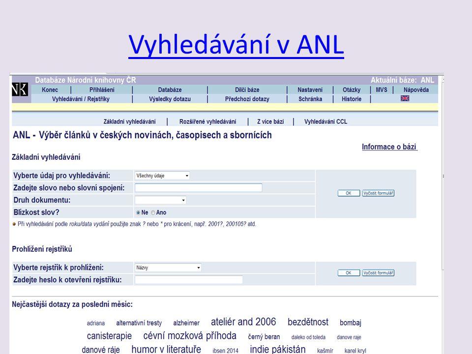 Vyhledávání v ANL