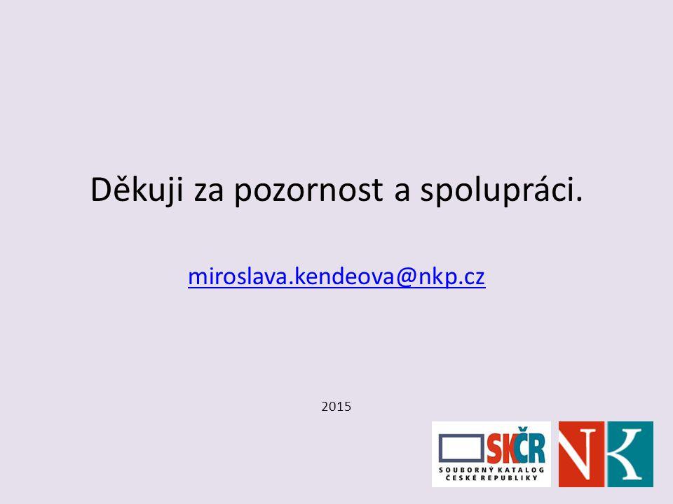 Děkuji za pozornost a spolupráci. miroslava.kendeova@nkp.cz 2015