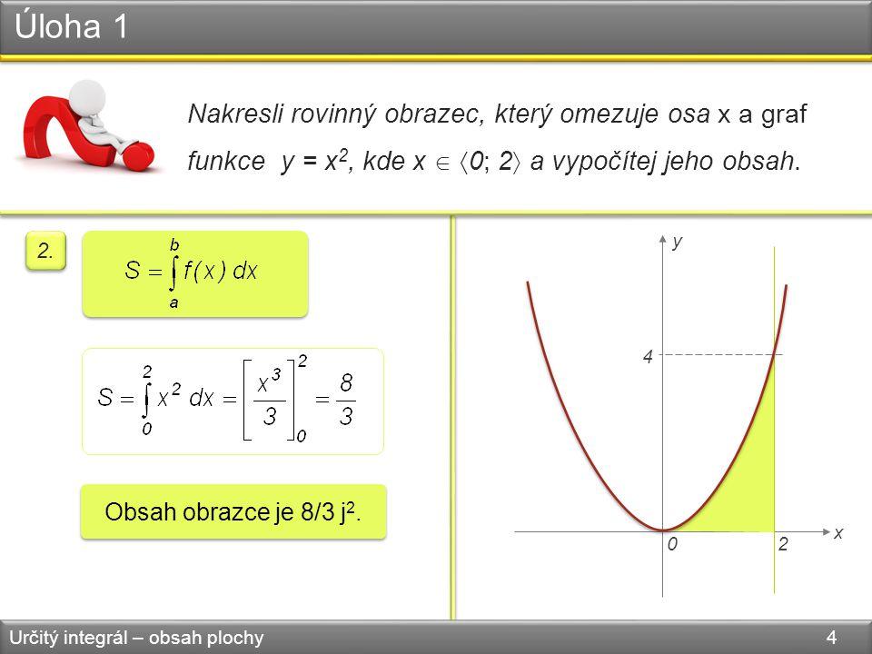Úloha 1 Určitý integrál – obsah plochy 4 Nakresli rovinný obrazec, který omezuje osa x a graf funkce y = x 2, kde x   0; 2  a vypočítej jeho obsah.