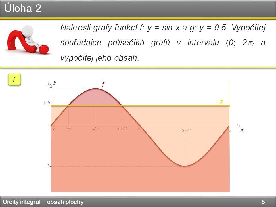 Úloha 2 Určitý integrál – obsah plochy 5 Nakresli grafy funkcí f: y = sin x a g: y = 0,5.