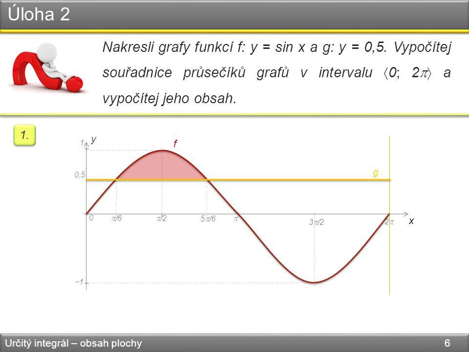 Úloha 2 Určitý integrál – obsah plochy 6 Nakresli grafy funkcí f: y = sin x a g: y = 0,5.
