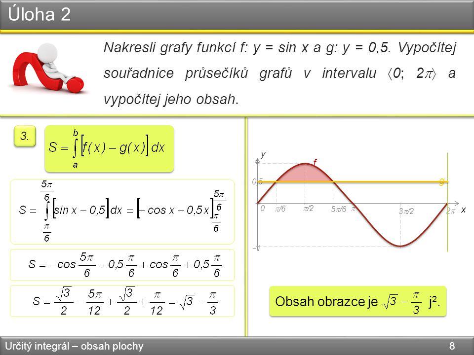 Úloha 2 Určitý integrál – obsah plochy 8 Nakresli grafy funkcí f: y = sin x a g: y = 0,5.